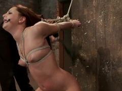Cute 20yr old has elbows tied tight & strappado'd, hair tied back made to cum while totally helple.
