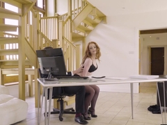 Gorgeous redhead secretary Ella Hughes seduces her boss