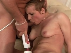 Whore Chicky Clarissa with short hair uses the professional vibrator