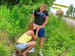 Outdoor threesome with a teen