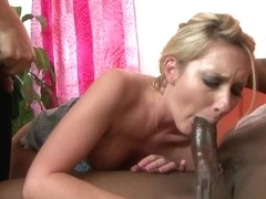 Horny blonde with sexy tits does professional blowjob