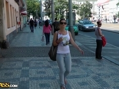 Breasty sweetheart in nylons masturbates in the street