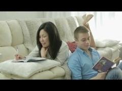 Petite Asian Girl fucking her white BF