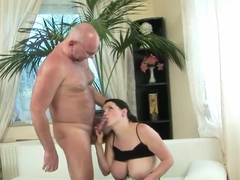Gorgeous babe Laurea with her huge boobs pleasing an old man