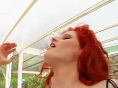 Milf Thing Sexy fishnetted MILF squirts all over
