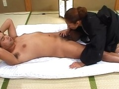 Nasty and sex hungry babe in kimono stripping off and hardcore fucking
