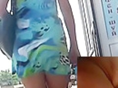 Colorful beach suit upskirt