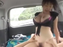 Horny Japanese whore in Exotic Outdoor, Car JAV scene