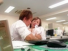 Kinky office milf Chika Haruno deepthroats and rides schlong