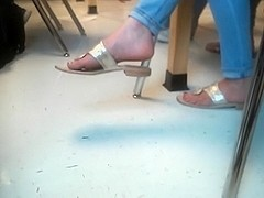 Pretty feet dangling sandals in class 3