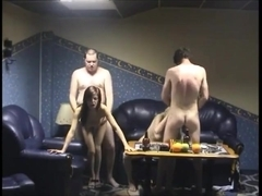 Two men fuck russian girls in sauna
