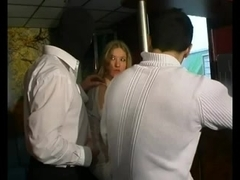 Blonde babe gets sexual punishment by two masters
