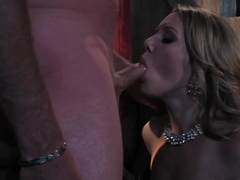 Hot blonde taking dick in alley