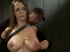Upside down big-titty pain slut gets machine fucked and throat fucked at the same time