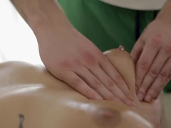 Ravishing girl with perky boobs takes a sexy massage and a few extras