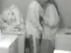 Lesbian cuties caught having sex on a laundry room spy cam