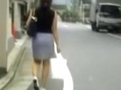 Sharking of a gorgeous Japanese lady wearing a skirt