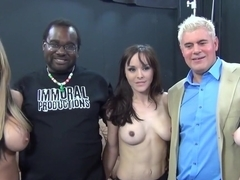 Incredible pornstars Jennifer White and Nikki Sexx in horny interracial, group sex adult scene