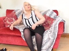 Old Chubby Sami plays with big tits