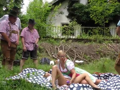 lederhosen groupsex orgy in nature