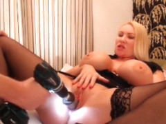 Milf gets drilled and pumped by super size huge toys huge screaming orgasms