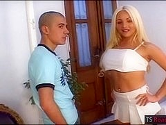 Big tits blonde tranny Mariana fucks her man in the ass