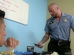 Manly buff cop facializes
