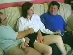 Dilettante wife receives screwed by 2 lewd guys.
