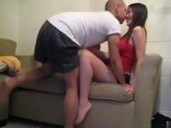 Asian couple makes a sextape on the sofa