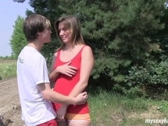 Shy teen Bella gets fucked in the wood