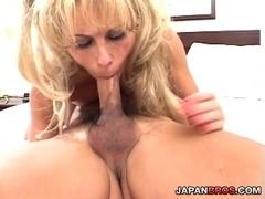 Horny blond MILF swallows loads of sticky cum