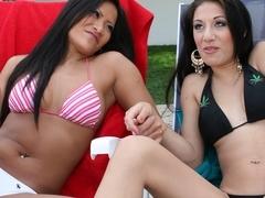 Sexy porn stars Kira Croft & Christina Aguchi fuck