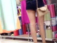 Asian in Booty Shorts