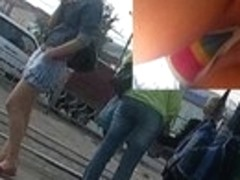 Striped belt filmed
