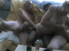 Homemade video of really hot blonde ex girlfriend sucking two big cocks