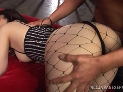 Yuuka Tsubasa is a hot Asian milf in fishnet stockings