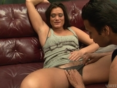 Brunette does blowjob to three horny men who like twats