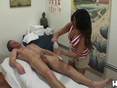 Annie Lee strokes Ryan McLane's cum-stick
