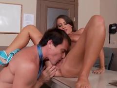 Naughty dick loving Lizz Tayler sucking balls before giving BJ