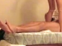 XXX White babe with brown hair has sex and gives head on a two-person bed