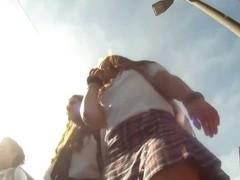 Naughty schoolgirls get upskirt voyeur video shots at their panties