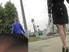 Free upskirt vid with stunning beauty in high heels