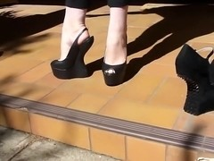 7 inch Black Heel Less peep toe platform slingbacks