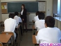 Mei Sawai Asian busty in office suit gives hot blowjob at school