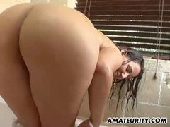 Very busty amateur girlfriend bathroom action