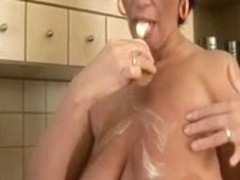 Large tits lustful playgirl squizing hard in the kitchen