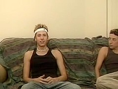 Two gay hot twinks jerking off together