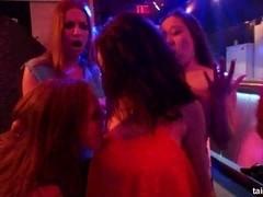 Trashy lesbians gets wild in a club