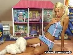 blonde teen girl in game room Video