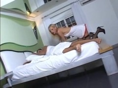 Skinny blonde nurse Renata gets banges